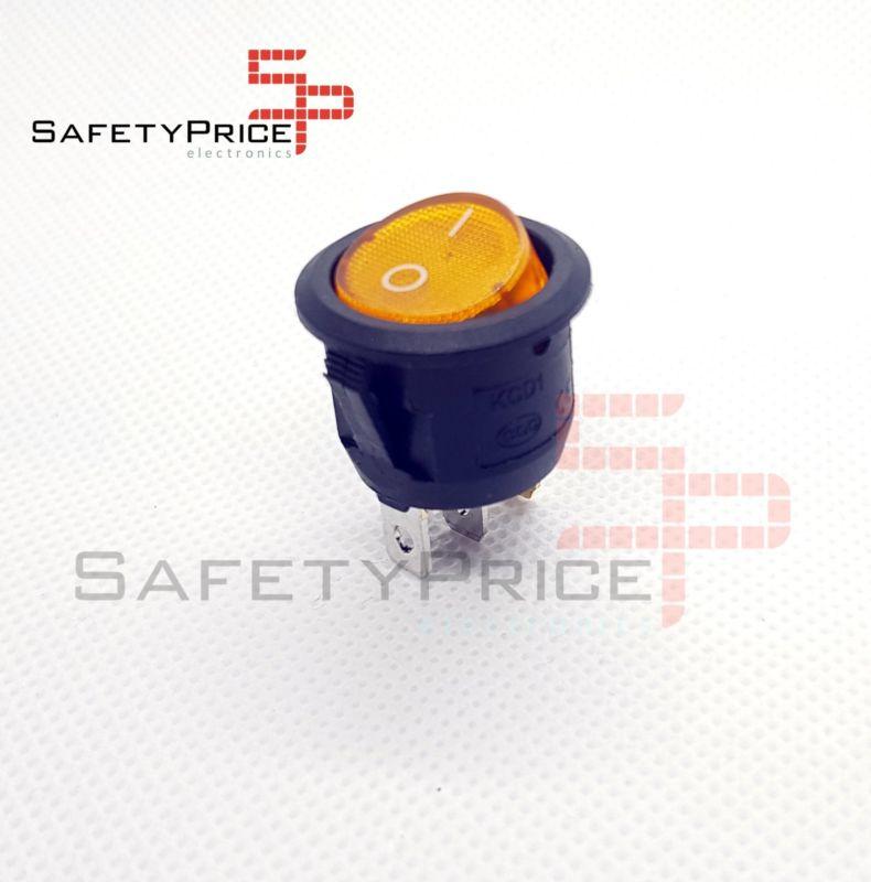 Interruptor ON OFF con luz AMARILLO Redondo 20mm SPST 220v 6A