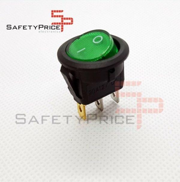 Interruptor ON OFF con luz VERDE Redondo rectangular 20mm SPST 12V 20A SP