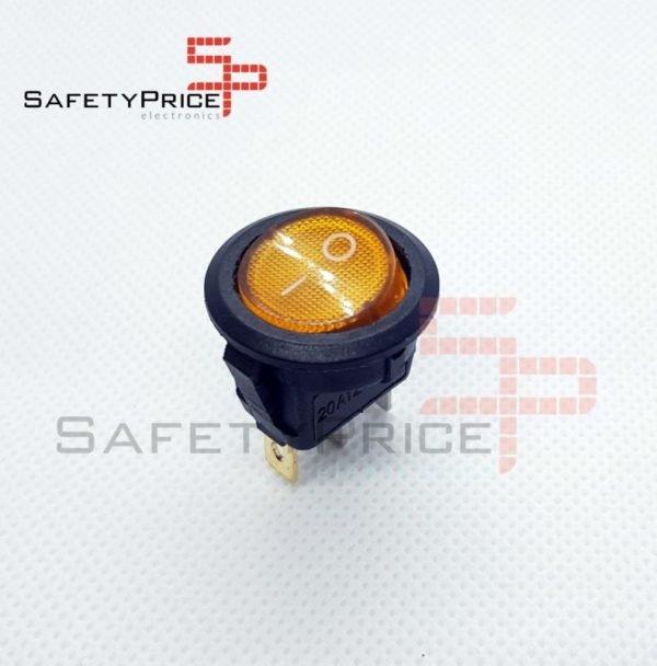 Interruptor ON OFF con luz AMARILLO Redondo rectangular 20mm SPST 12V 20A