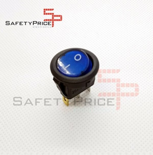 Interruptor ON OFF con luz AZUL Redondo rectangular 20mm SPST 12V 20A