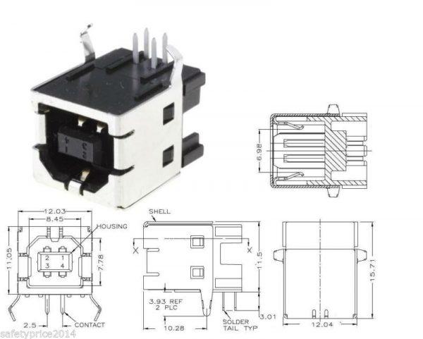 10x Conectores USB Tipo B hembra 90º PCB