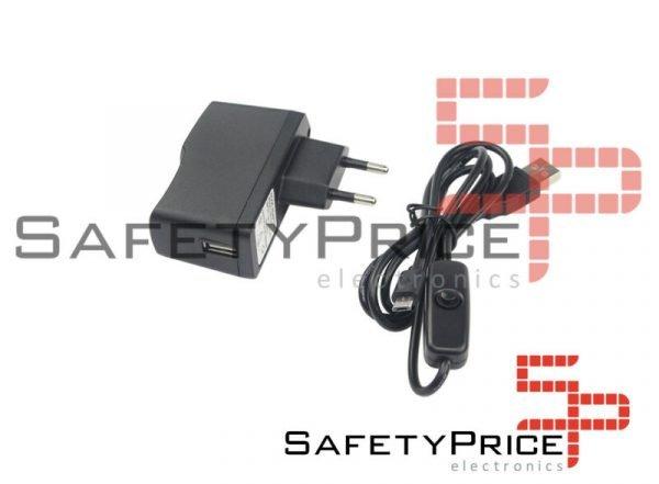FUENTE ALIMENTACION 5V 2.5A MICRO USB INTERRUPTOR COMPATIBLE RASPBERRY PI 3