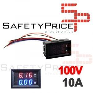 Voltimetro Amperimetro 100V 10A Digital DC Rojo Azul