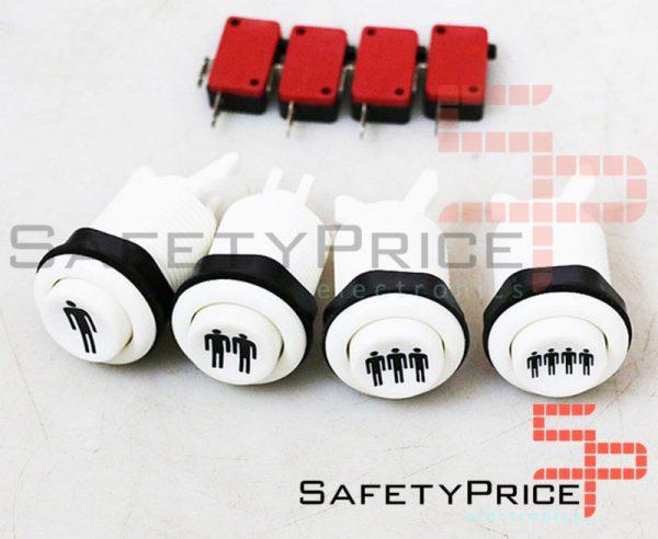 Pulsador concavo Arcade Americano 28mm 1-2-3-4 Player Pushbutton Recreativa COLOR A ELEGIR