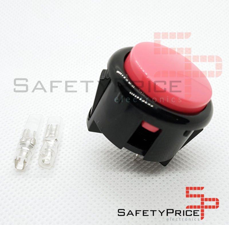 Pulsador Arcade 30mm Rosa faston Jamma Push button Bartop Raspberry
