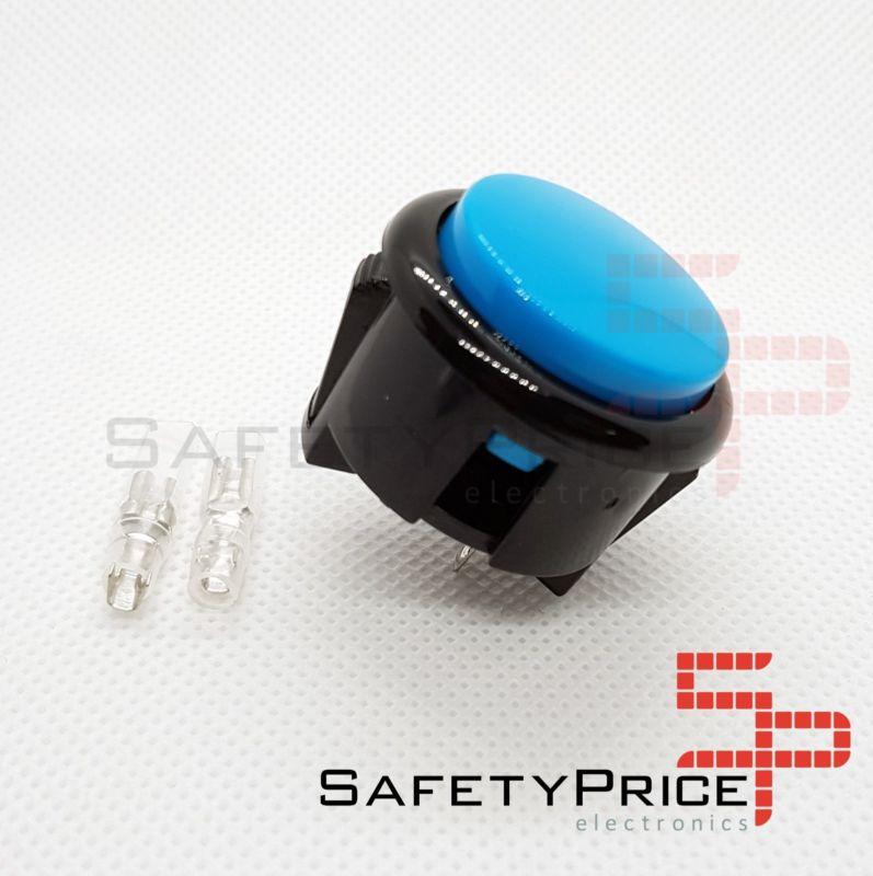 Pulsador Arcade 30mm Azul faston Jamma Push button Bartop Raspberry
