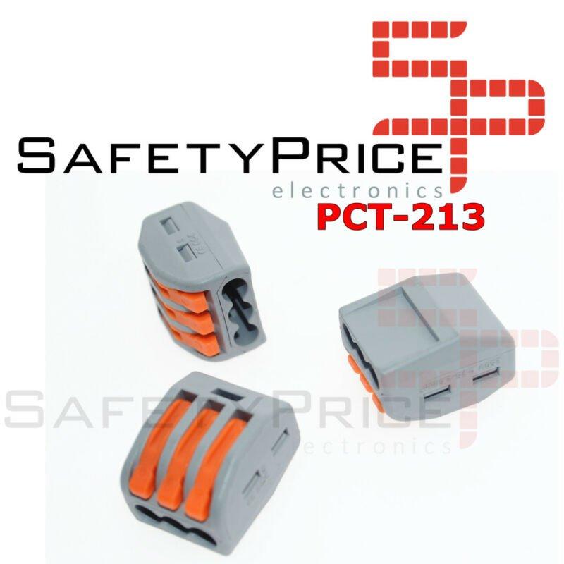 2x Conector rapido 3 terminales 32A 4mm 4000v 250v pines palanca wago pct-213