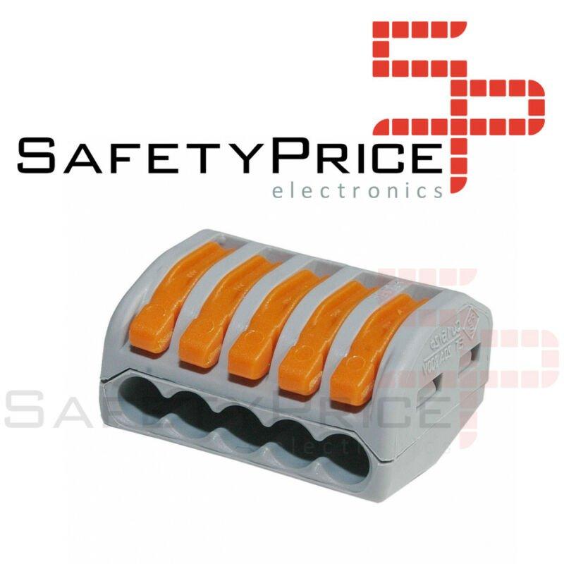 2x Conector rapido 5 terminales 32A 4mm 4000v 250v pines palanca wago pct-215