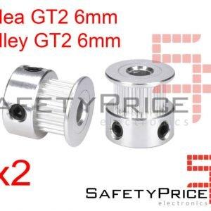 2x POLEA GT2 20 DIENTES 6MM BORE ALUMINIO PULLEY IMPRESORA 3D REPRAP