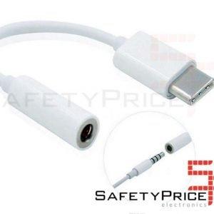 ADAPTADOR USB TIPO C 3.1 A JACK HEMBRA 3.5MM COLOR BLANCO
