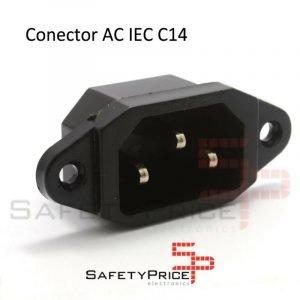Conector Corriente AC IEC C14 Chasis Macho 10A 250V 3 pines