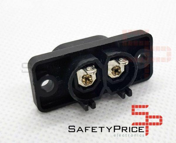2x Conector Corriente AC IEC C8 Chasis Macho 2.5A 250V 2 pines Negro