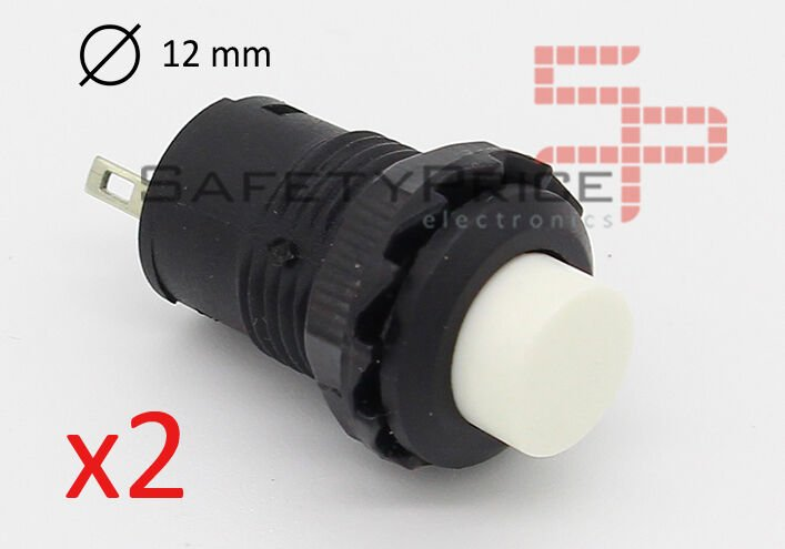 2x PULSADOR BLANCO redondo 12mm empotrable boton ON OFF 2 posiciones