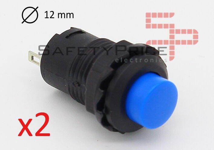 2x Interruptor AZUL redondo 12 mm empotrable 2 posiciones