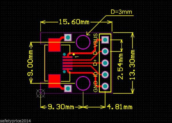 Modulo Adaptador mini usb a DIP