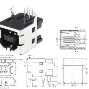 5x CONECTOR USB 2.0 hembra tipo B 90º grados para soldar en PCB
