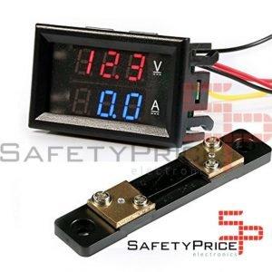 Voltimetro Amperimetro 100V 50A Digital DC Rojo Azul con shunt