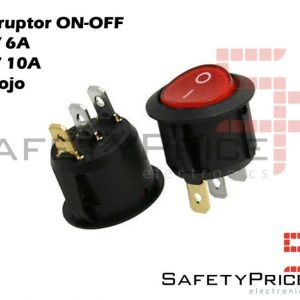 Interruptor ON OFF con luz ROJO Redondo 22mm SPST 220v 6A