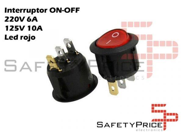 Interruptor ON OFF con luz ROJO Redondo 22mm SPST 220v 6A