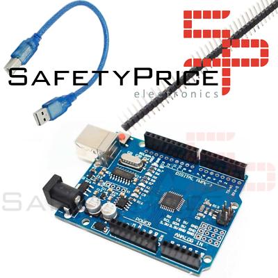 Placa UNO R3 ATmega328p CH340G 100% Compatible con Arduino + pines SMD con Cable SP