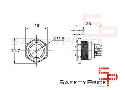 Pulsador de metal acero 16 mm para panel N / A NO 2A 36V SP