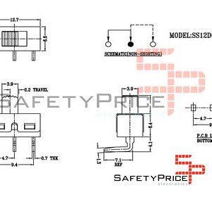 2x Interruptor deslizante On Off SS12D06 90º SP