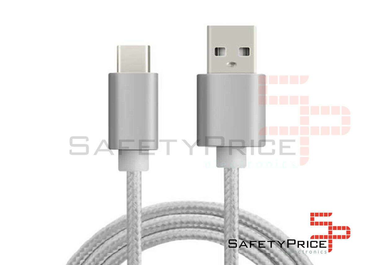 CABLE USB-C ALUMINIO TRENZADO MÓVIL TABLET TIPO C 1m PLATA NYLON SP