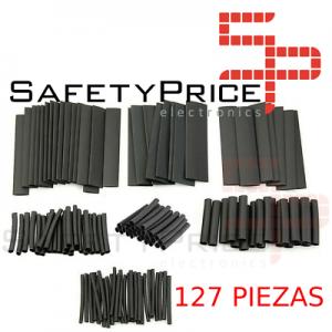 Surtido 127 PIEZAS Tubo Termoretractil de Color negro 7 DIAMETROS SP