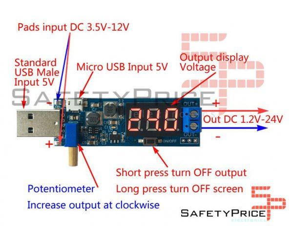 DC 3.5- 12V A DC 1.2-24V DC-DC USB Step UP / Down Power SP