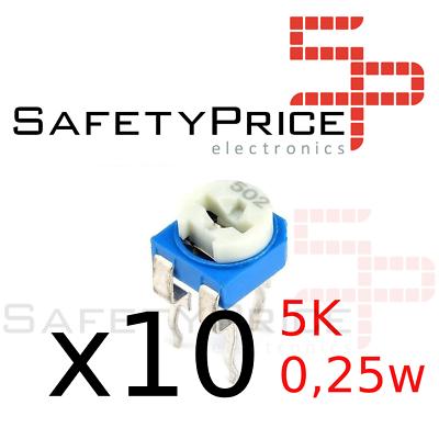 10x Potenciometro preset 5K ohm 0,25w ±20%