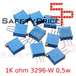 5x Potenciometro Multivuelta 1K ohm 3296-W 0,5w resistencia variable PCB