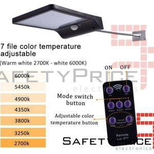 Lampara 48 LED Energía Solar Sensor Movimiento PIR
