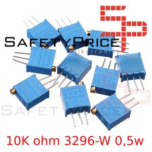 5x Potenciometro Multivuelta 10K ohm 3296-W 0,5w resistencia variable PCB