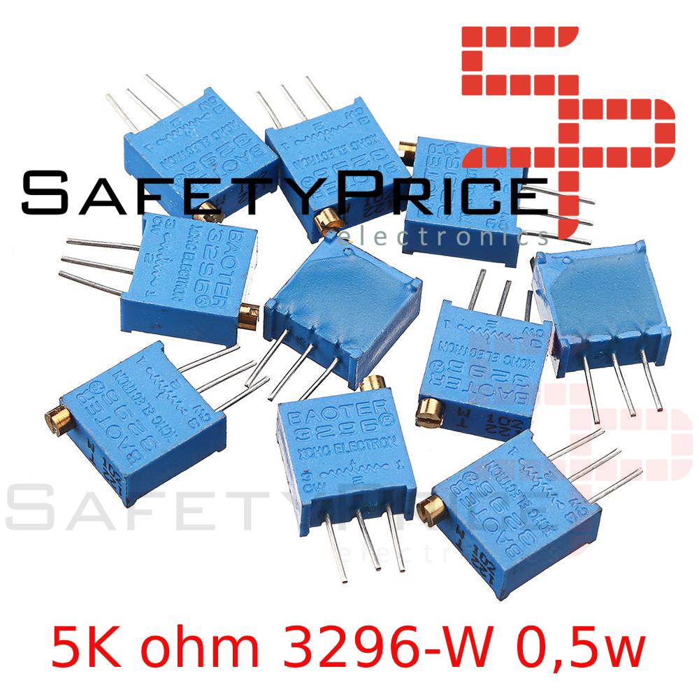5x Potenciometro Multivuelta 5K ohm 3296-W 0,5w resistencia variable PCB