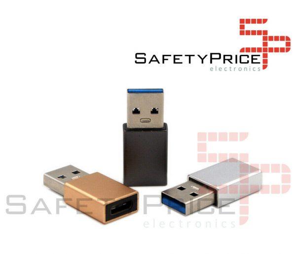 Adaptador USB Tipo C 3.1 a Usb Macho color PLATA