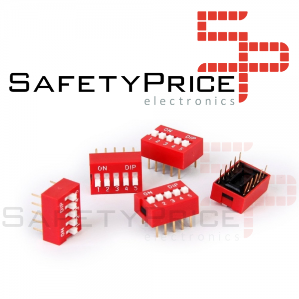 3x Interruptor Dip Switch 5 posiciones 5p ON OFF 2.54mm