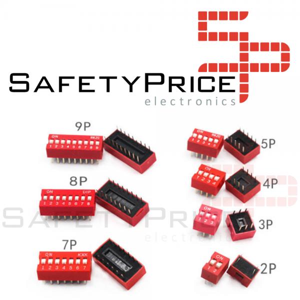 3x Interruptor Dip Switch 7 posiciones 7p ON OFF 2.54mm