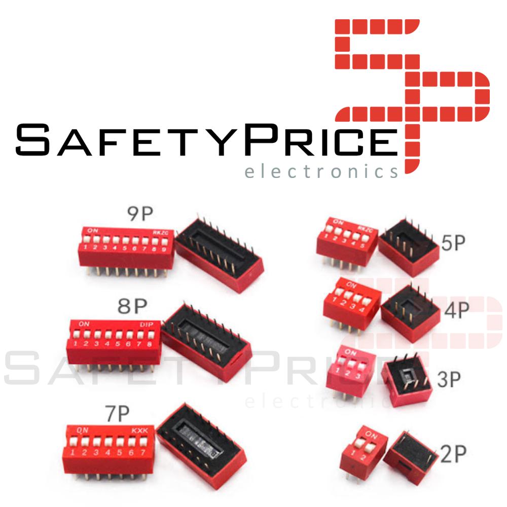 3x Interruptor Dip Switch 9 posiciones 9p ON OFF 2.54mm