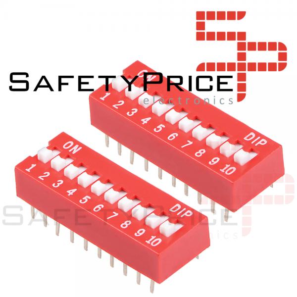 3x Interruptor Dip Switch 10 posiciones 10p ON OFF 2.54mm