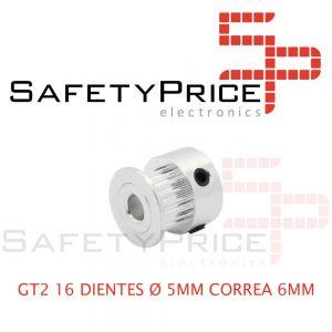 1x GT2 POLEA DENTADA 16 DIENTES ORIFICIO 5 MM CORREA 6 MM IMPRESORA 3D CNC