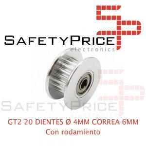 1x GT2 POLEA LOCA DENTADA 20 DIENTES CON RODAMIENTO ORIFICIO 4 MM CORREA 6 MM IMPRESORA 3D CNC