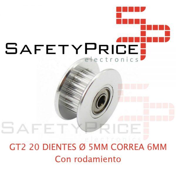 1x GT2 POLEA LOCA DENTADA 20 DIENTES CON RODAMIENTO ORIFICIO 5 MM CORREA 6 MM IMPRESORA 3D CNC