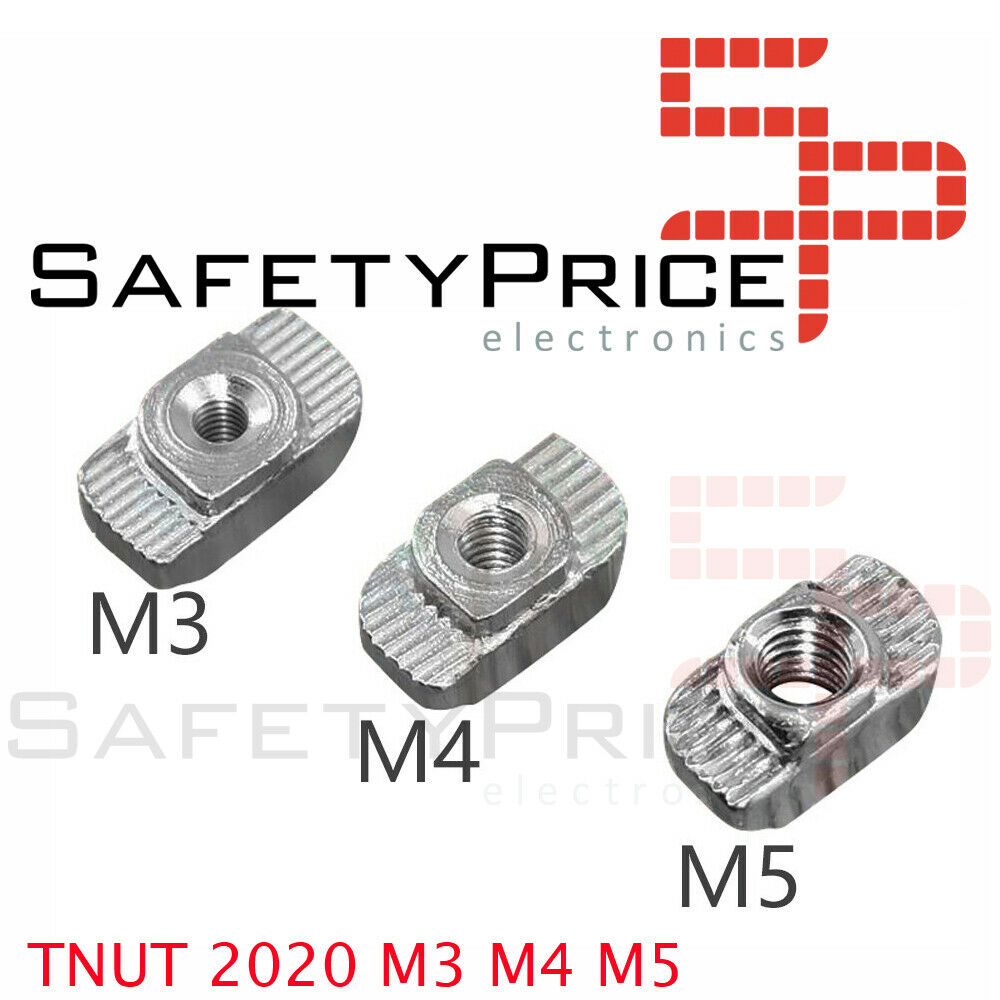 10x TUERCAS CABEZA MARTILLO T PERFIL ALUMINIO 2020 M3 M4 M5 TNUT 20MM IMPRESORA 3D CNC RANURA 6
