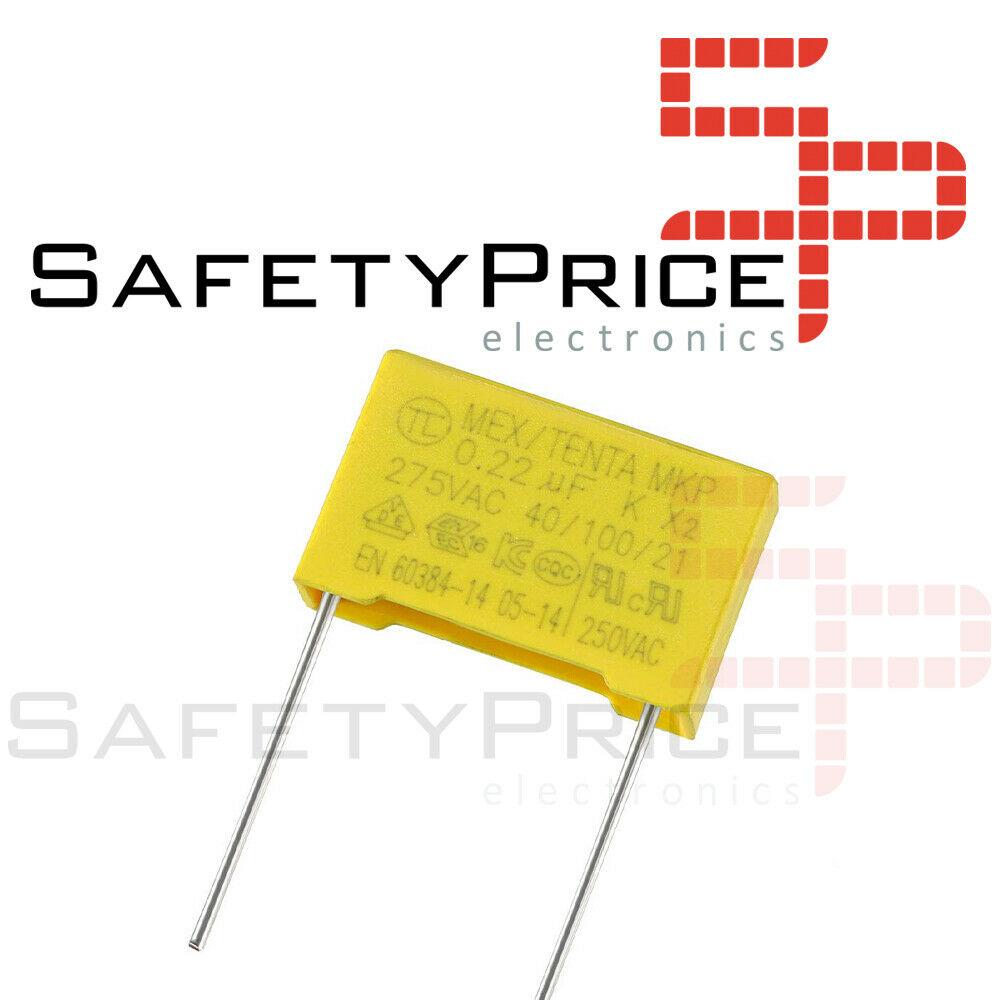 2x Condensador de seguridad MKP X2 0.22uF 224K AC 275V 15mm