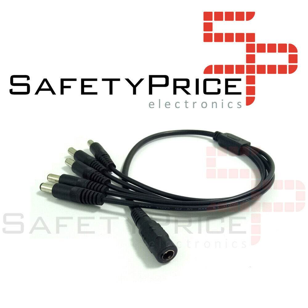 Cable splitter duplicador 5 salidas CCTV camara seguridad 12V - 2.1mm x 5.5mm
