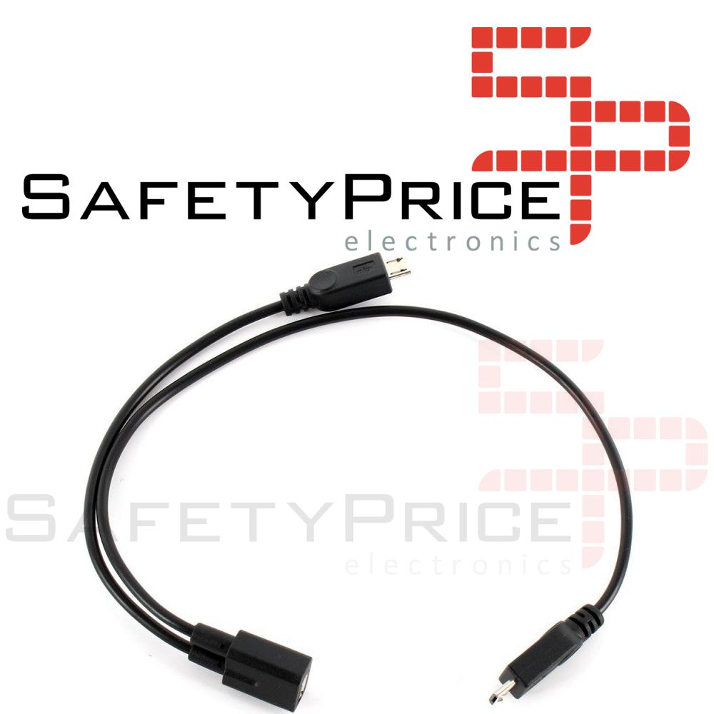 CABLE DE EXTENSION ALARGADOR MICRO USB DUPLICADOR EN 'Y' 1-A-2