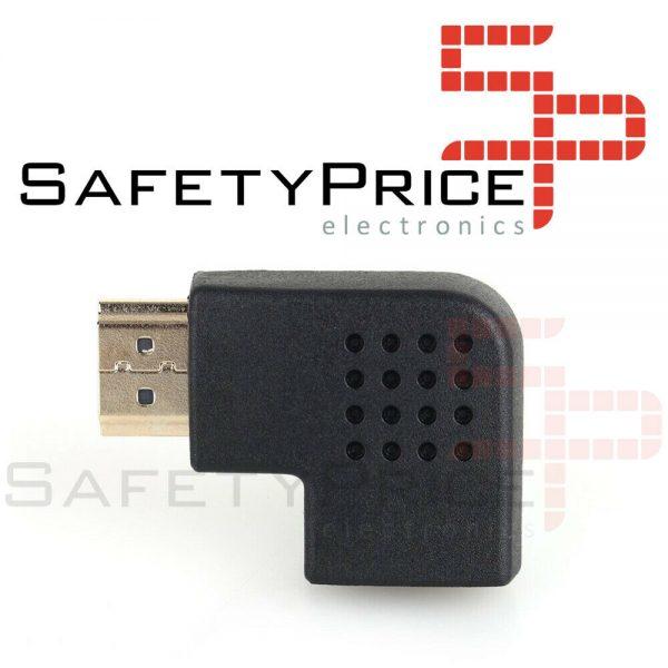 Adaptador HDMI Macho a HDMI Hembra Ángulo 90º Conector 1.4 derecha
