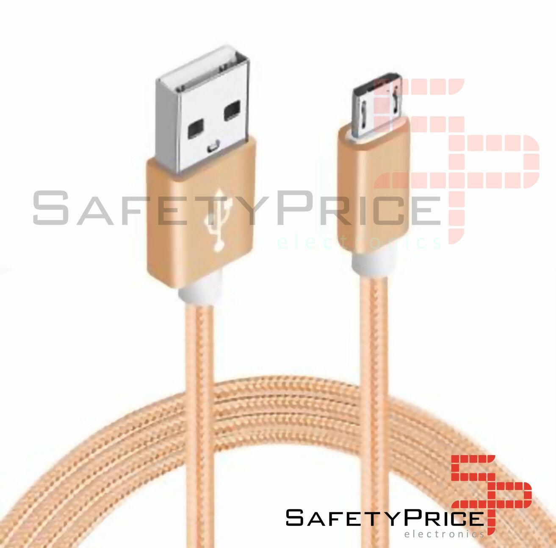 CABLE MICRO USB ALUMINIO TRENZADO 1m ORO NYLON