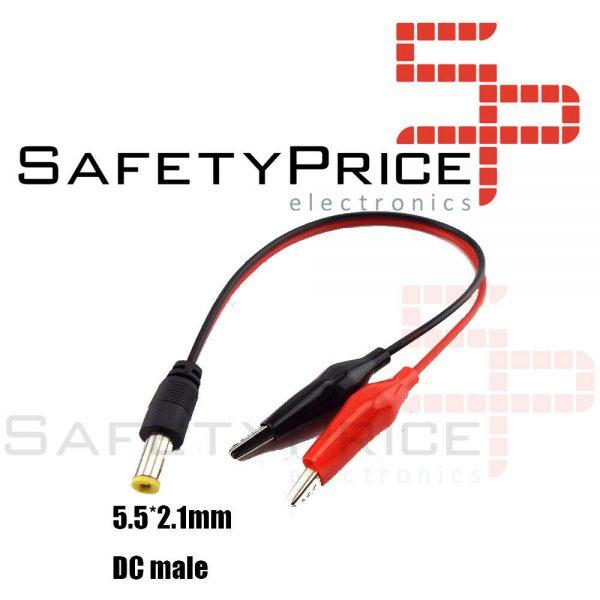 Conector Jack de voltaje CC DC macho 5,5*2,1mm a Cable Clip pinzas cocodrilo