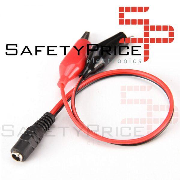 Conector Jack de voltaje CC DC hembra 5,5*2,1mm a Cable Clip pinzas cocodrilo